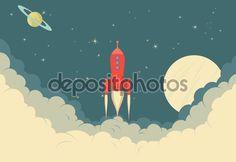 Illustration of Spaceship taking off or landing