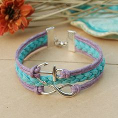 Anchor bracelet blue and purple infinity bracelet with por Umonster