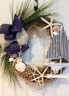 Beach House Wreath 22 Sailboat Wreath Seashell by DillyBeanDesign