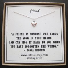 Friend Necklace Card - Heart Charm Necklace - Song in Your Heart Quote Card - Sterling Silver