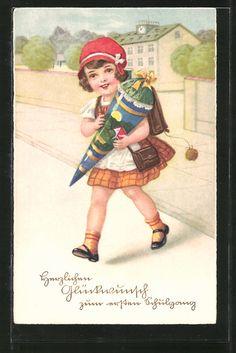 """carte postale ancienne: CPA """"Herzlichen Glückwunsch zum ersten Schulgang"""", Fille avec Zuckertüte et Schulranzen überquert die Strasse"""