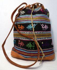 Ethnic Boho Tapestry & Leather Drawstring Bucket Crossbody Handbag Purse