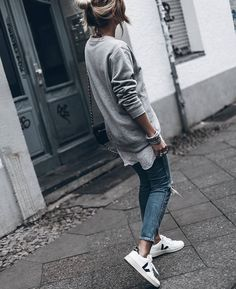 Winter style in Dr. Denim crewneck sweatshirt, Revolve jeans, Veja sneakers || ig @mikutas
