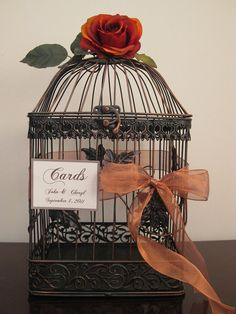 black and copper birdcage for cards