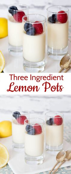 Posset Recipe ingredient lemon pots) Lemon possets are rich & delicious, quick & easy, freeze well and only use 3 ingredients!Lemon possets are rich & delicious, quick & easy, freeze well and only use 3 ingredients! Mini Desserts, Make Ahead Desserts, Easy Lemon Desserts, Easy Dinner Party Desserts, Individual Desserts, Holiday Desserts, Weight Watcher Desserts, Afternoon Tea Recipes, Afternoon Tea Parties