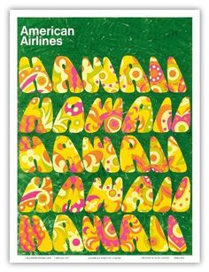 American Airlines Hawaii, Flower Power c.1960s -  Travel Poster