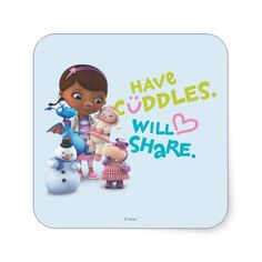 Have Cuddles Will Share Square Stickers for party invitations, stocking stuffers, favors, etc.