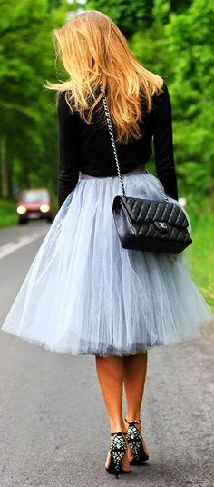 Fanfaronada Grey Blue Full Tulle A-skirt