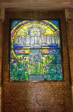 The Tiffany's stained glass window in the Wade Chapel, Lake View Cemetery in Cleveland, Ohio.