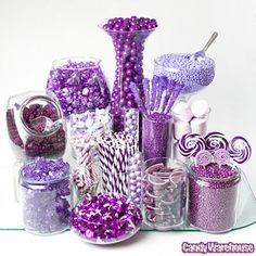 Purple Candy Buffets; not like this, but pic for reminder. pan dulce bar, crystal platters, and bowls painted gold and purple ; need platters, bowls, paint, food, napkins and small plates or bowls