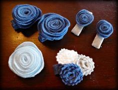 made from felt squares cut into a spiral and then rolled into a flower Felt Flowers, Flowers In Hair, Fabric Flowers, Felt Hair Clips, Flower Hair Clips, Felt Squares, Crafts For Kids, Arts And Crafts, Felt Bows