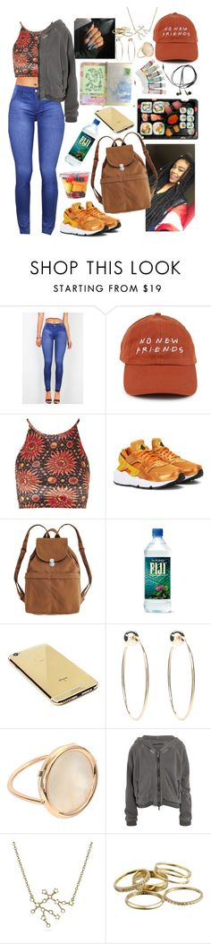 """""""On the go"""" by raven-so-cute ❤ liked on Polyvore featuring Jura, Topshop, NIKE, BAGGU, Goldgenie, Bebe, Ginette NY, Haider Ackermann, Bling Jewelry and Kendra Scott"""