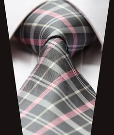 "TC3012K8 Pink Gray Grey Check New 3.4"" 100% Silk Jacquard Woven Classic Man's Tie Necktie-in Ties from Apparel & Accessories on Aliexpress.com 