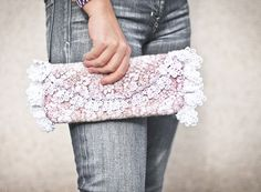Clutch Vintage French Lace Felted Bag Merino Wool by frenchfelt, €68.00