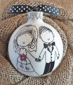 Adorable Personalized Wedding Ornament. First names and wedding date on back.  Awesome one-of-a-kind keepsake Wedding Gift for the happy couple!