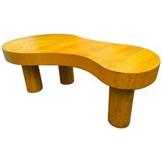 Jean Royère Documented Rare Blond Tri-Legged Oak Model Flaque Coffee Table   From a unique collection of antique and modern coffee and cocktail tables at https://www.1stdibs.com/furniture/tables/coffee-tables-cocktail-tables/