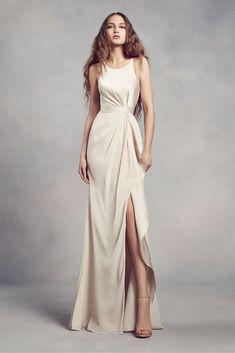 dbb8246630f29 Charmeuse and Chiffon Bridesmaid Dress with Ruffle Style VW360340, Apple, 16