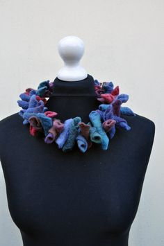 Felted necklace, collar, fibre art, gift, pink, blue, purple, brown