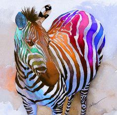 Zebra Dreams by Galen Hazelhofer (watercolor) with Pin-It-Button on FineArtAmerica