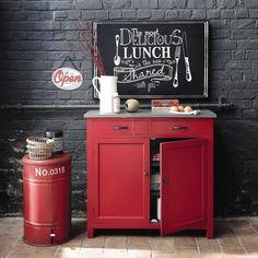 Cubo de basura de metal rojo Al. 57 cm CARGO | Maisons du Monde
