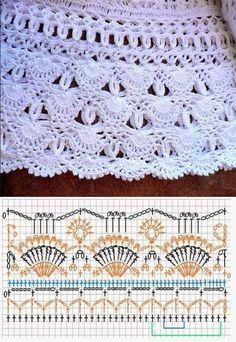 64 Ideas For Skirt Crochet Vanessa Montoro Crochet Skirt Pattern, Crochet Skirts, Crochet Motifs, Crochet Borders, Crochet Diagram, Crochet Stitches Patterns, Crochet Chart, Crochet Designs, Crochet Clothes