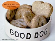 Peanut Butter Dog Treats.  1 cup whole wheat flour,  1 1/2 teaspoons baking powder,  1/2 cup peanut butter,  1 Tablespoon honey,  1/2 cup hot water.
