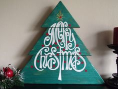 "Christmas Merry Christmas Tree Shaped Wooden Sign  13"" x 14 1/2""  Distressed Hand Painted Wooden Sign"