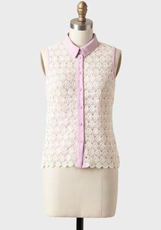 Lovely Lavender Crocheted Blouse