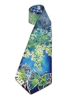 Hand-Painted Silk Tie with Butterfly Drawing by LaijaArt on Etsy