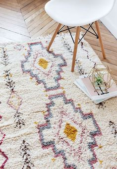 Moroccan Wool Rug with pizzazz. Perfect for eclectic or boho decorating. Morrocan Rug, Moroccan Decor, Nursery Rugs, Room Rugs, Boho Nursery, Diy Carpet, Rugs On Carpet, Carpet Ideas, Beige Carpet