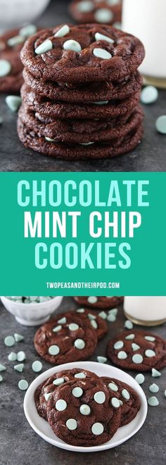 Chocolate Mint Chip Cookies are rich and fudgy chocolate cookies with green mint chocolate chips! Perfect for Christmas or any day!