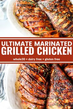 This Ultimate Marinated Grilled Chicken is the absolute best grilled chicken and made with only the best ingredients. You're going to love how flavorful it is thanks to an easy marinade! It's sugar free, dairy free, gluten free, and compliant! Marinated Grilled Chicken, Chicken Marinade Recipes, Grilled Meat, Grilled Chicken Marinade Easy, Marinades For Chicken, Whole Chicken Marinade, Chicken On The Grill, Chicken Marinate, Cooking Recipes