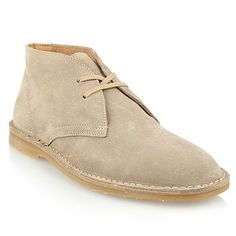 Beige high top suede shoes -