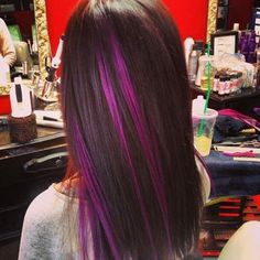 Brunette Hair with Purple Highlights by traci