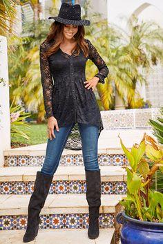 Long Sleeve Tunic Dress, Lace Tunic, Tunic Dresses, Black Lace Jacket, All Black Dresses, Bodice Top, Bohemian Chic Fashion, Lace Button, Dressy Tops