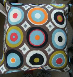 Retro Oasis Mango Prestigious Circles Fabric Scatter Pillow Cushion Covers