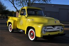 1955 FORD F-100 PICKUP - don't the red wheels look great