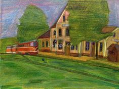 """Railway station with narrow gauge train"" by Lorenzo-CZ Canvas Prints, Framed Prints, Art Prints, Gauges, Art Boards, Colored Pencils, Travel Mug, Transportation, Train"