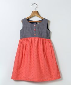 Look what I found on #zulily! Coral & Gray Button-Accent A-Line Dress - Girls by Beebay #zulilyfinds