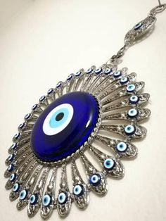 Metal working with glass Turkish Blue Evil Eye (Nazar) Wall Decor,Amulet Wall Hanging,Home Decor ,Protection Good Luck -rustic Oriental Fashion, Oriental Style, Greek Evil Eye, Good Luck To You, Flower Wall Decor, Mother Gifts, Mothers, Metal Working, Washer Necklace