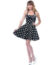 Black and White Polka Dot Halter Dress- Unique Vintage