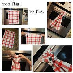 on one end sew a button to one corner and a button hole to the other, loop over handle and button around towel! Small Sewing Projects, Sewing Projects For Beginners, Sewing Hacks, Sewing Tutorials, Sewing Crafts, Kitchen Towels Hanging, Hanging Towels, Dish Towel Crafts, Dish Towels