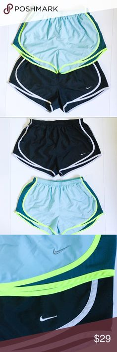 Nike Bundle of Two Dri-Fit Running Shorts Stay cool, cute and comfortable on your run with this bundle of two Nike Dri-Fit running shorts! Both running shorts are a size large with a built in interior liner and drawstring waist. Nike's Dri-Fit Technology keeps you dry and comfortable, and mesh side panels provide breathability. They are the same style and cut, one is black with white details, and one is blue with green and neon green details. Preloved in EUC, with no apparent flaws and lots…