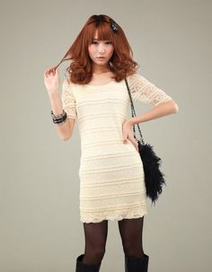 8afdd4895e Women Korean Pretty Style Round Neck High Waist White Lace Dress. Stylish  Clothing · Lace Dresses