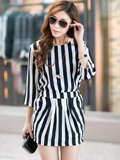 Korean Style Stripes Round Collar Two Pieces Dress