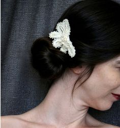 bridal lace hair clip SWEET AND SIMPLE  vintage by tinaevarenee, $39.00