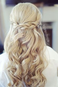 Image result for bridesmaid hair half up and half down