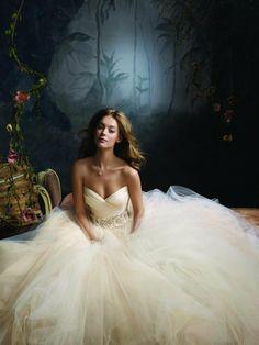 Formal Romantic Ivory Orange White $$$$ - $3001 to $5000 Ball Gown Beading Floor Flowers Lazaro Pleats Satin Silk Sleeveless Strapless Sweetheart Tulle Wedding Dresses Photos & Pictures - WeddingWire.com