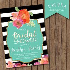 Bridal Shower Invitation, Floral Black & White Stripe Bridal Shower Invite, Gold Glitter Bridal Shower, DIY Printable