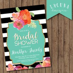 Bridal Shower Invitation, Floral Black White Stripe Bridal Shower Invite, Gold Glitter Bridal Shower, DIY Printable